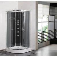 Opus iLock 1000 Hydro Shower Cabin 1000mm x 1000mm Carbon Black Glass Cabinet - 20 Minute Build